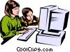 Vector Clipart graphic  of a Children working at computers
