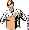 Vector Clip Art graphic  of a Man receiving books