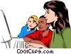 Vector Clip Art graphic  of a Teacher with students