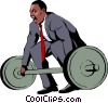 Vector Clipart graphic  of a Businessman lifting weights