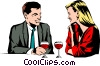 Vector Clipart graphic  of a Couple having drinks