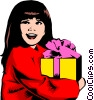 Vector Clipart illustration  of a Little girl with gift