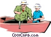 Vector Clipart picture  of a Father and son fishing