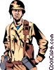 Vector Clip Art image  of a Military man