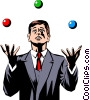 Vector Clip Art graphic  of a Businessman juggling balls