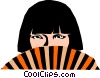 Vector Clip Art image  of a Fan girl