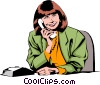 Woman on phone Vector Clipart picture