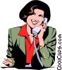 Vector Clipart image  of a Woman on phone