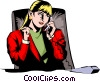 Vector Clip Art image  of a Woman on phone