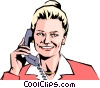 Woman on phone Vector Clipart graphic