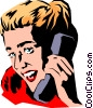 Vector Clipart graphic  of a Woman on phone
