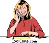 Woman on phone Vector Clip Art graphic