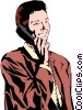 Woman on phone Vector Clip Art picture