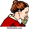 Vector Clip Art picture  of a Woman on phone
