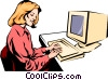 Woman working at computer Vector Clip Art image