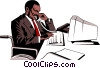 Vector Clipart graphic  of a Handicapped office worker