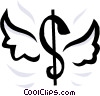 Vector Clipart image  of a Dollar sign with wings