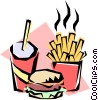 Hamburger, fries, & drink Vector Clipart picture