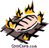 Vector Clipart graphic  of a Barbecue chicken