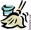 Vector Clipart picture  of a Mop & pail