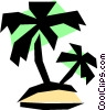 Vector Clipart graphic  of a Tropical island