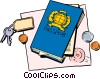 Passport with keys and change Vector Clipart picture