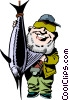 Vector Clipart graphic  of a Cartoon fisherman