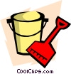 Vector Clipart graphic  of a Shovel and pail