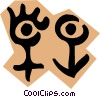 Vector Clipart graphic  of a Male & female symbols
