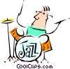 Vector Clip Art picture  of a Cool jazz drummer