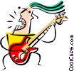 Vector Clipart graphic  of a Cool guitar player