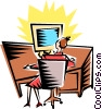 Vector Clipart image  of a Cartoon computer