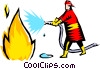 Vector Clip Art graphic  of a Firefighter