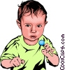 Vector Clip Art graphic  of a Baby with candy