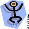 Vector Clip Art image  of a Stickman on blue shape