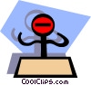 Vector Clipart graphic  of a Stickman on blue shape