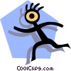 Stickman on blue shape Vector Clip Art picture