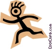 Vector Clip Art graphic  of a Stickman on brown shape