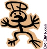 Vector Clipart graphic  of a Stickman on brown shape