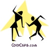 Silhouette Stick People Dancing Vector Clipart picture