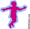 Vector Clip Art image  of a Kid silhouettes