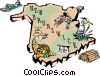 Vector Clipart picture  of a New Brunswick map