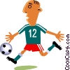 Soccer player dribbling ball Vector Clipart picture