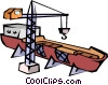 Ship at dry dock Vector Clipart picture
