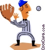 Baseball player catching ball Vector Clipart illustration