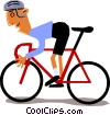 Cyclist racing Vector Clipart graphic