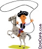 Vector Clip Art graphic  of a Man on horseback