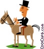 Vector Clip Art image  of a Man on horseback