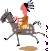 Man on horseback Vector Clipart image