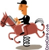 Vector Clipart image  of a Man on horseback